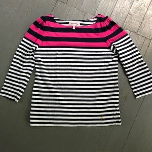 Juicy Couture 3/4 Sleeve Pink/White Striped Shirt